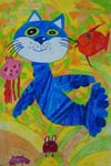 'Dark blue wonderful cat', Vadim Bruy, 7 years, (teacher A.N.Kimerina), Dobropolie